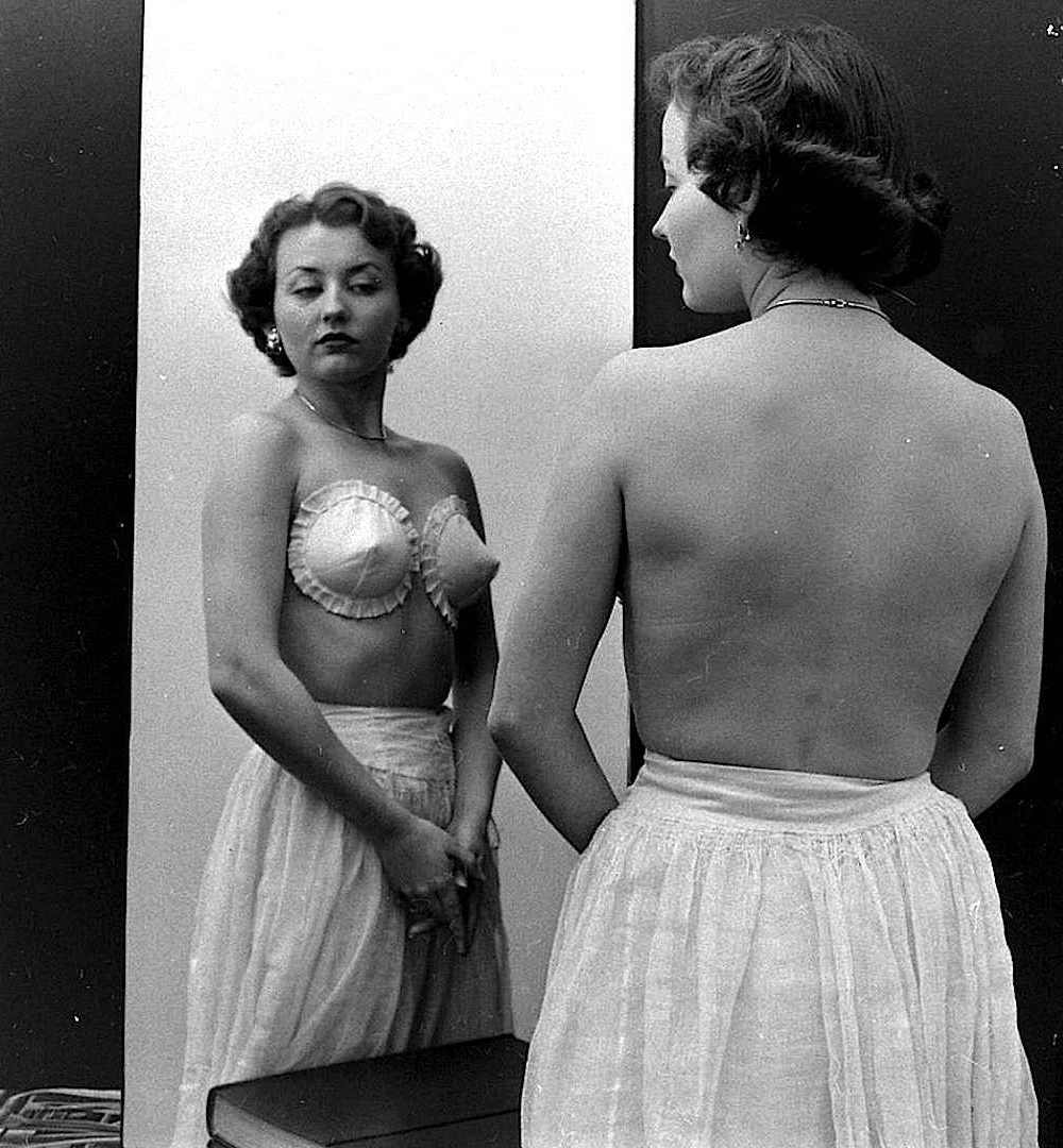 a 1949 strapless bra in an advertising photograph