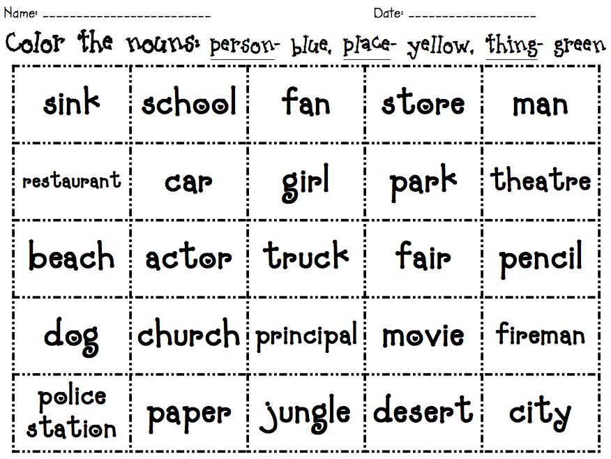Printables First Grade Noun Worksheets 1st grade noun worksheets davezan nouns for davezan