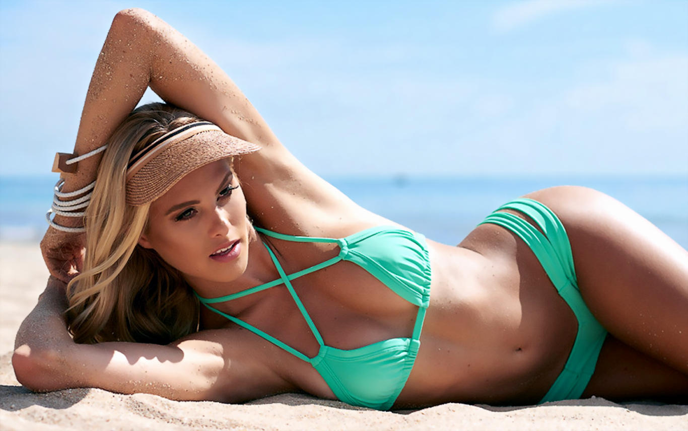 Natalie Roser Turquoise Bikini Hot Wallpaper