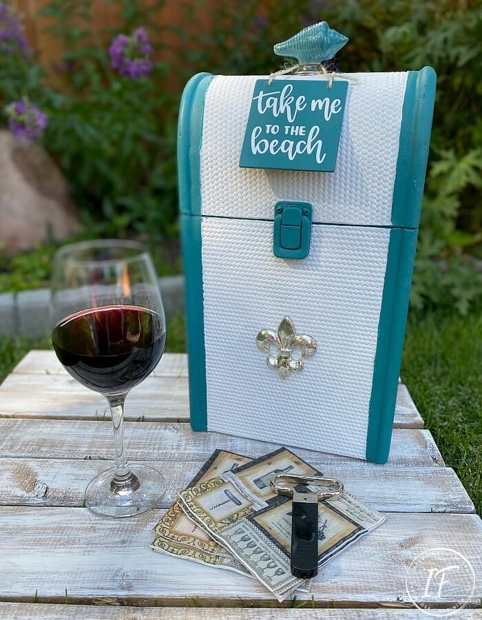A thrift store Vintage Wood Rattan and a Metal Wine Bottle Carrier get one-of-a-kind makeovers for summer for two budget-friendly hostess gift ideas.