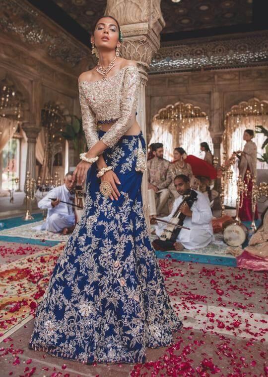 Pakistani Bridal Dress by Zainab Salman for Walima Function – Navy Blue Bridal Dress with Short Blouse