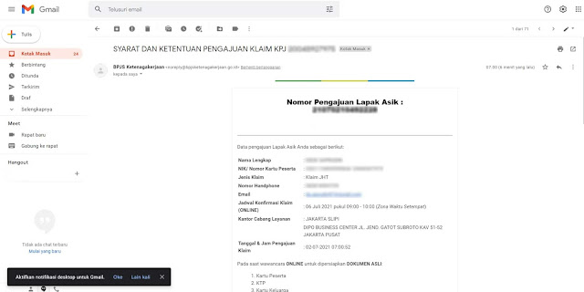 Email konfirmasi e-klaim JHT BPJS