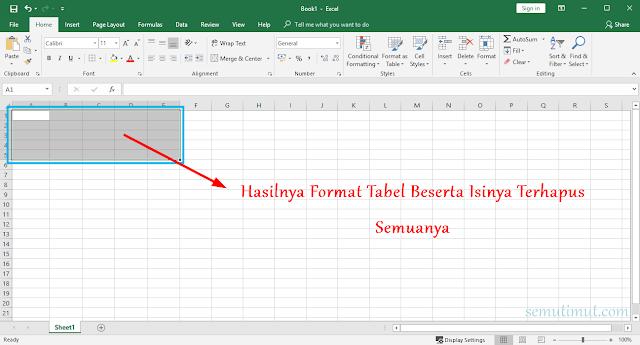Cara Menghapus Tulisan pada Tabel di Excel