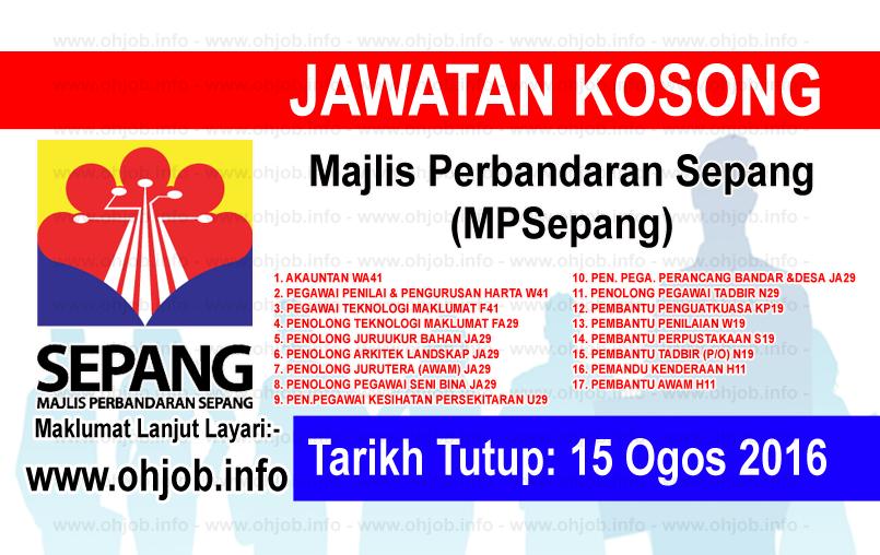 Jawatan Kerja Kosong Majlis Perbandaran Sepang (MPSepang) logo www.ohjob.info ogos 2016