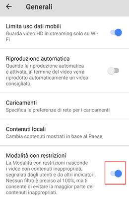 modalità con restrizioni youtube
