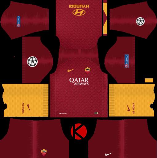 6cb9707ee AS Roma 2018 19 Kit - Dream League Soccer Kits - Kuchalana