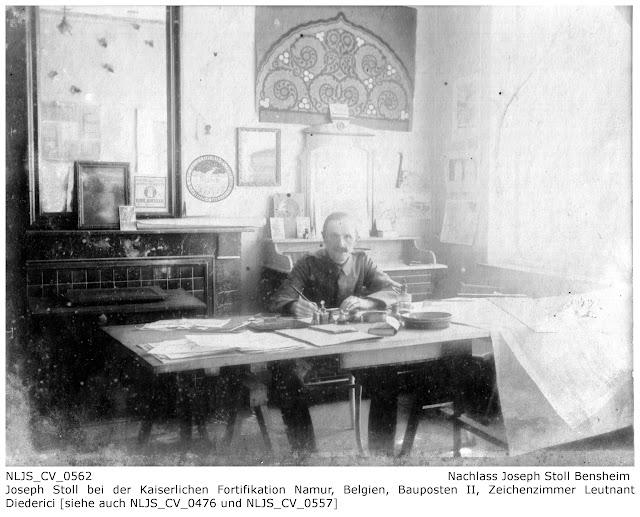 Joseph Stoll an seinem Arbeitsplatz bei der Fuhrparkkolonne I, Bauposten II, Namur im Zeichenzimmer von Leutnant Diederici; Nachlass Joseph Stoll Bensheim, Stoll-Berberich 2016