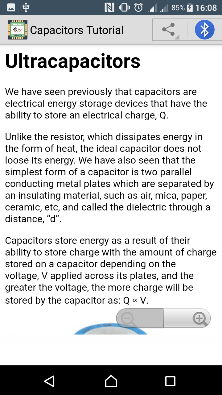 Capacitors tutorial app learning introduction to capacitors features quick and easy navigation very simple user interface one click share for your friend free app baditri Choice Image