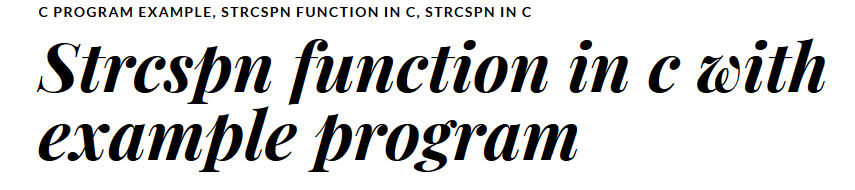 Strcspn function in c with example program