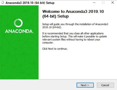 start page on the Anaconda3 installation