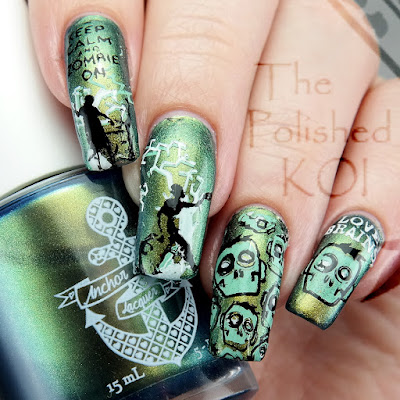 Anchor & Heart Lacquer Andamooka zombie nail art