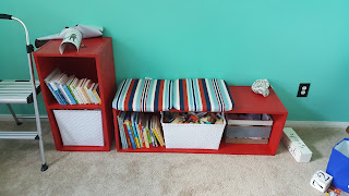 DIY Shelves and Bookcase for Nursery
