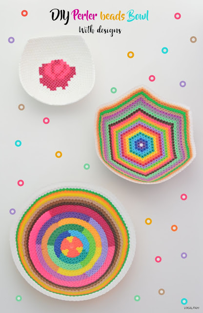DIY perler beads bowl with designs