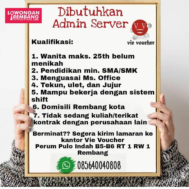 Lowongan Kerja Karyawati Admin Server Vie Voucher Rembang