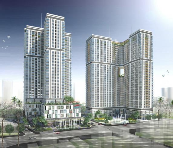 Phối cảnh thiết kế tổng thể dự án chung cư cao tầng Nguyễn Kim khu b