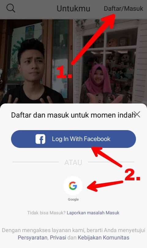 """Cara untuk Mendaftar atau Masuk adalah dengan cara mengklik menu """"Daftar/Masuk"""" yang berada di pojok kanan atas dan pilih masuk menggunakan akun Facebook ataupun akun Google."""