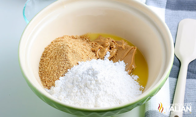 peanut butter bar recipe base ingredients in a bowl