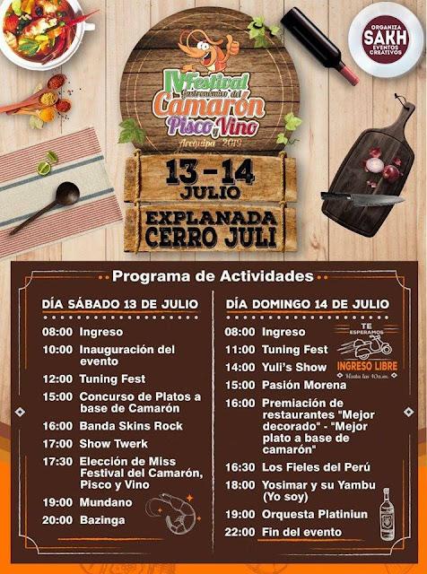 Festival del Camarón Piscos y Vinos, Arequipa 2019