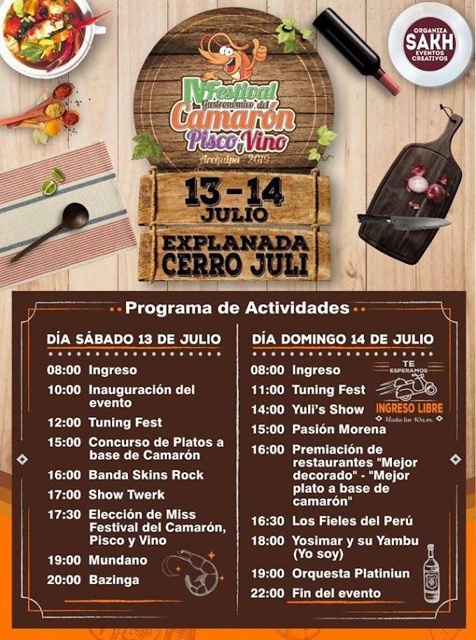 Festival del Camarón Piscos y Vinos, Arequipa 2019 - 13 y 14 de julio