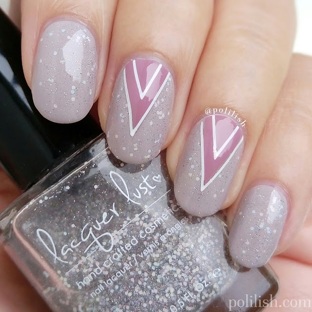 Taupe and pink geometric nail art design by polilish