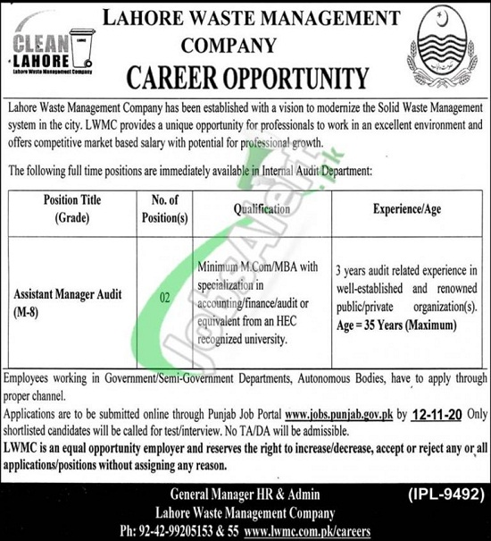 lahore-waste-management-company-lwmc-jobs-2020-apply-online