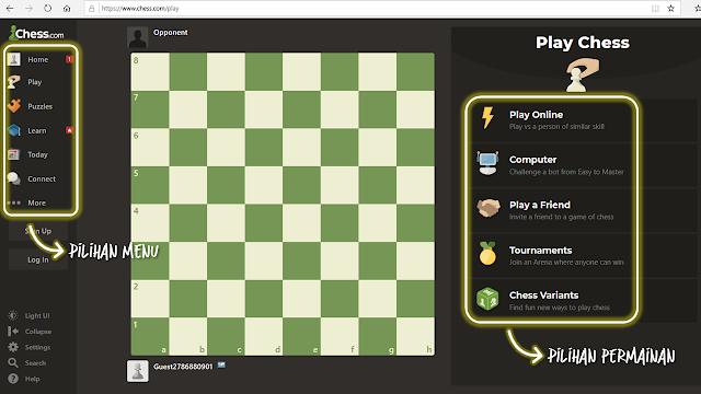 Tampilan Menu Play di Chess.com