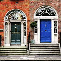 Photos of Dublin doors: green and blue pair of Georgian doors on Merrion Square