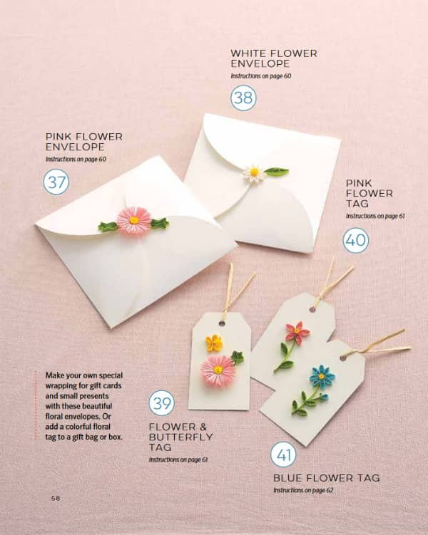 quilled envelopes and gift tags