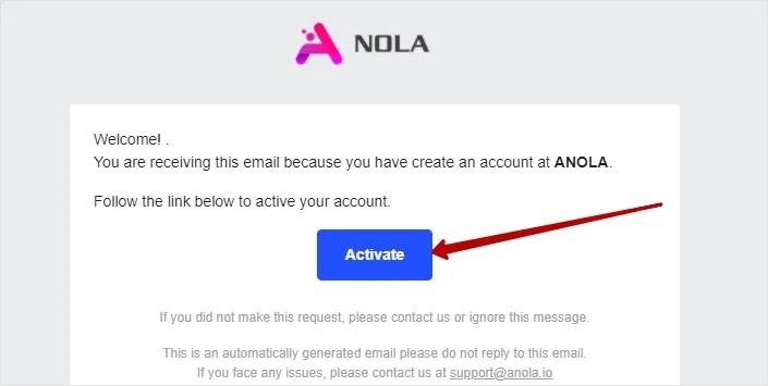 Регистрация в Anola 3