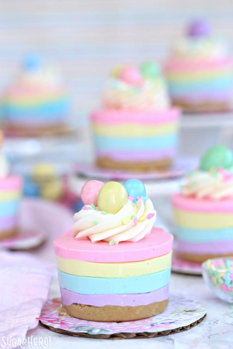 EASTER NO-BAKE MINI CHEESECAKES #desserts #cakes #yummy #minicakes #cupcakes
