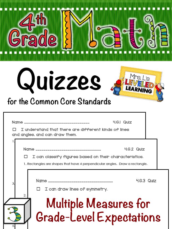 4th Grade Common Core Math Quizzes Freebie Frenzie