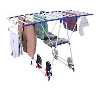 Servomate Modular Cloth Dryer Stand - Pre-Assembled, Foldable (Make in India), ,Blue & White,Flipzon Winsome Modular Cloth Dryer Stand