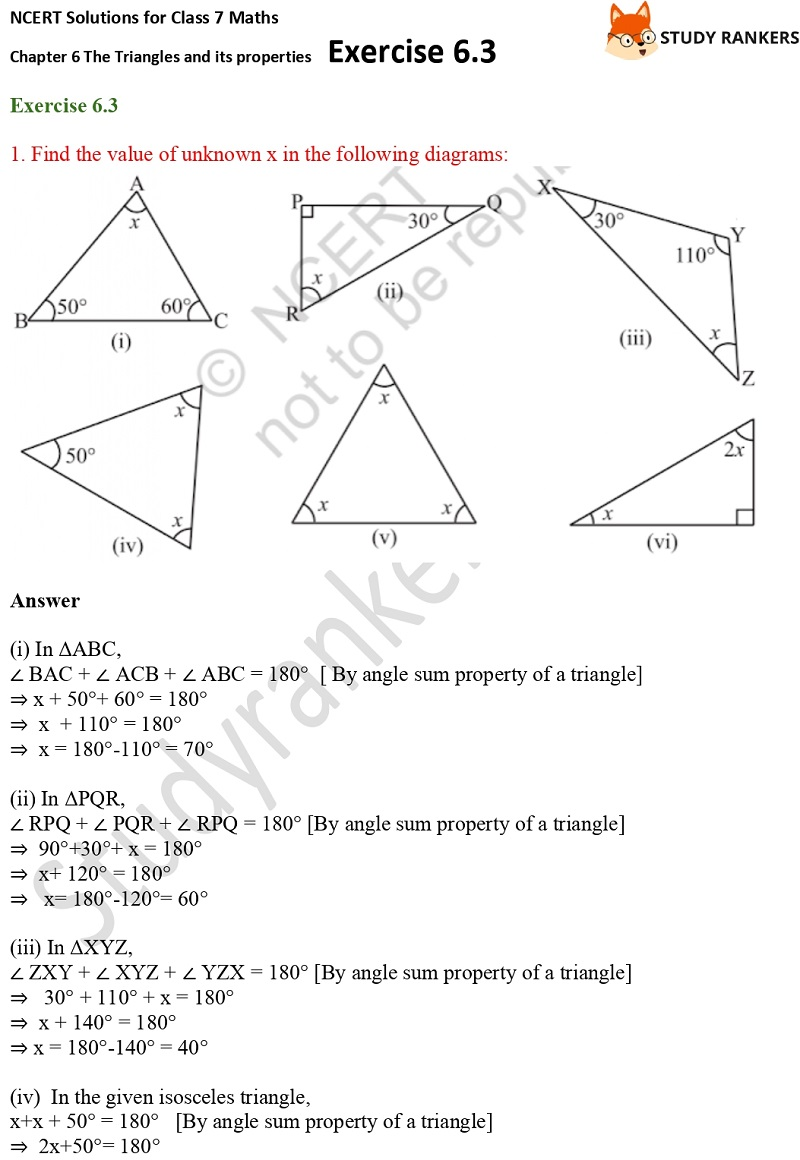 NCERT Solutions for Class 7 Maths Ch 6 The Triangles and its properties Exercise 6.3 1