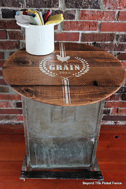 Rustic Farmhouse Chicken Feeder Side Table