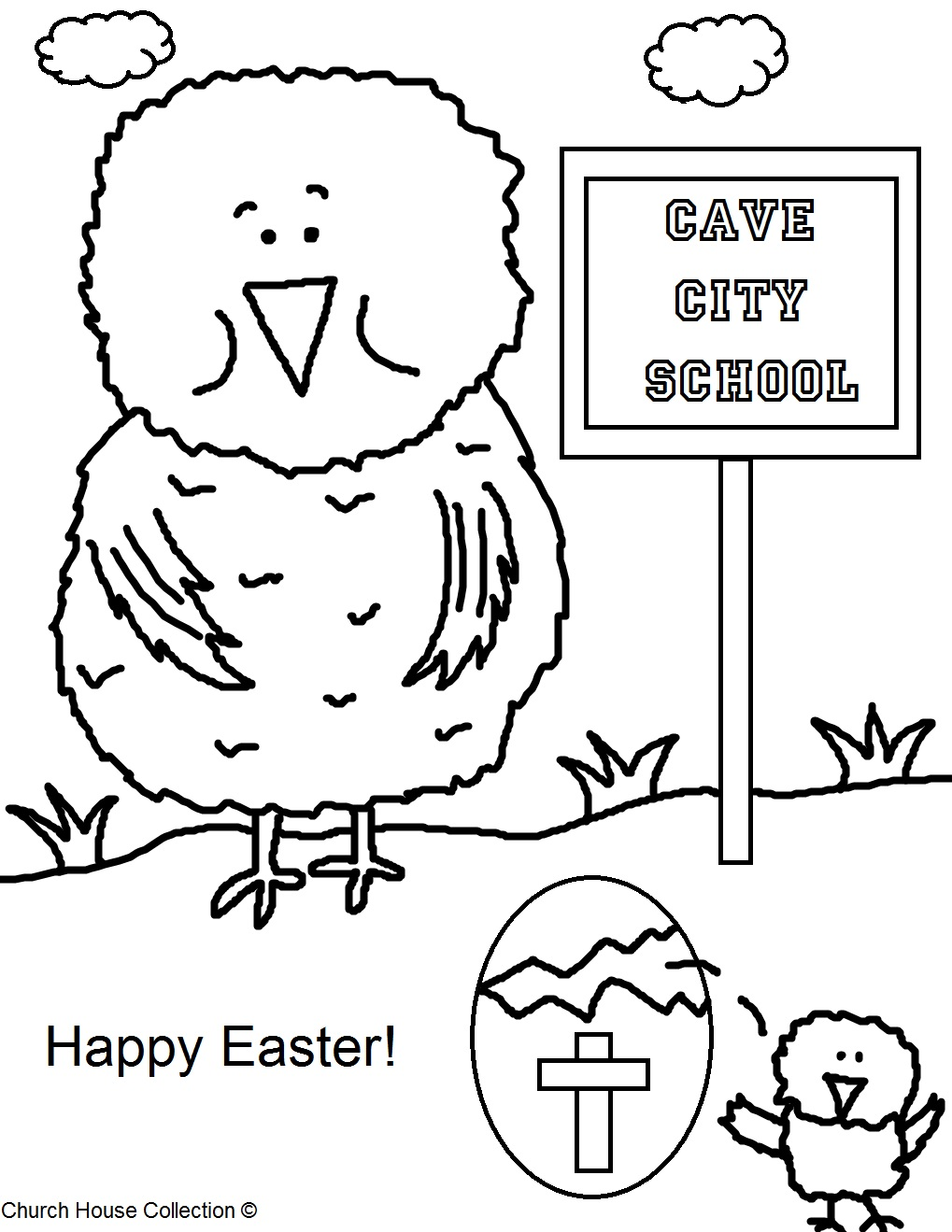 happy easter chick coloring pages - photo#29