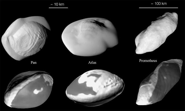 formas bizarras das luas de Saturno versus simulações de computador