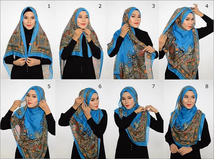 cara memakai hijab segi empat modern menutup dada
