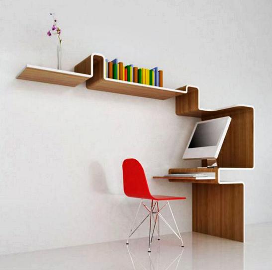Kumpulan Gambar Rak Buku Dinding Minimalis Kreatif Dan Modern - Rak Buku Minimalis Yang Menyatu Dengan Meja Kerja