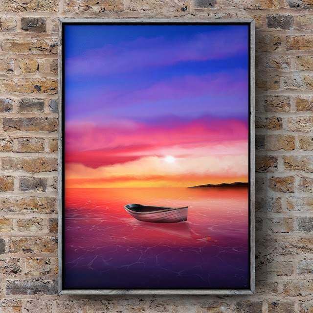 adrift at eventide, art by Mark Taylor, Ocean art, landscape paintings, sunset paintings,