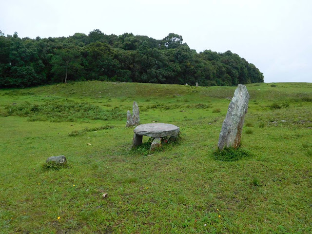 Monoliths scattered on the hills outside the Mawphlang Sacred Forest, Meghalaya