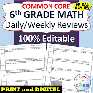 6th Grade Math Daily/Weekly Spiral Review