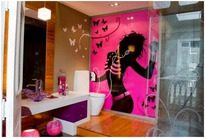 FUCHSIA BATHROOM DESIGN WITH BUTTERFLIES FOR GIRLS