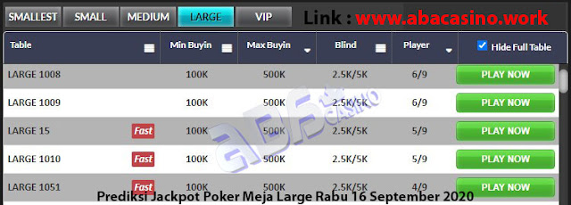 prediksi jackpot poker meja large rabu 16 september 2020