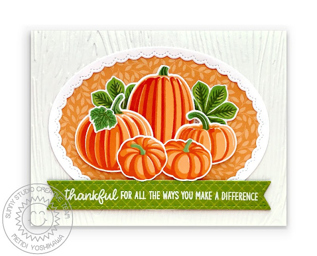 Sunny Studio Thankful for all the ways you make a difference Fall Card (using Pretty Pumpkins, Crisp Autumn & Words of Gratitude Stamps, Woodgrain Embossing Folder, Sweater Weather Paper, Fancy Frames Oval Dies & Slimline Pennant Dies)