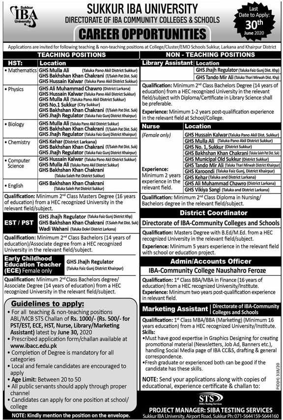 Sukkur IBA University Directorate Of IBA Community Colleges & Schools Multiple Jobs 2020