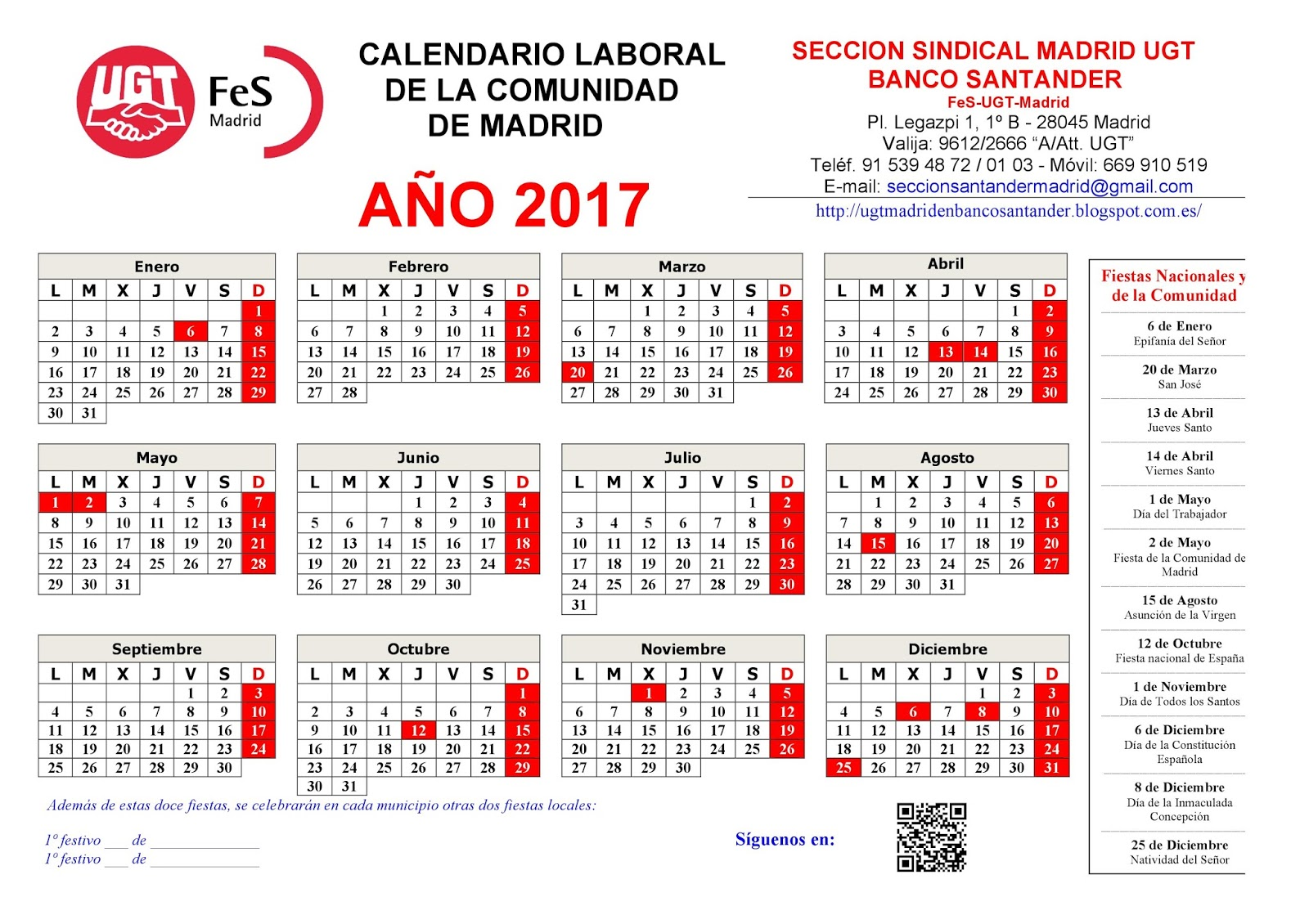 Calendario Laboral Comunidad De Madrid.Seccion Sindical De Ugt Madrid En Banco Santander El Sindi