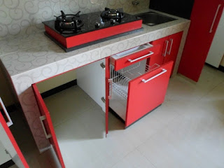 Kitchen Set Pintu Kaca Riben Dengan Penghisap Asap + Furniture Semarang