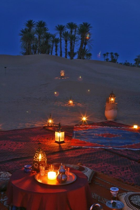 romantic desert camp in Morocco's Sahara desert