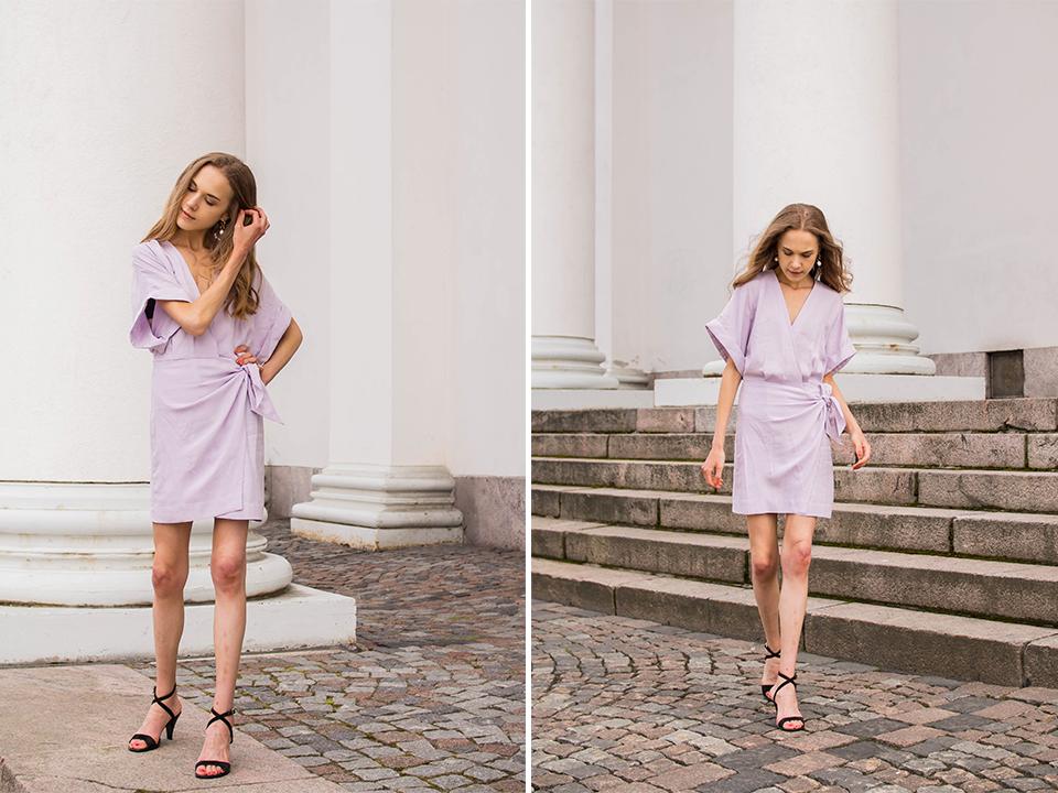 &Other Stories mini wrap dress in lilac - &Other Stories vaaleanvioletti kietaisumekko