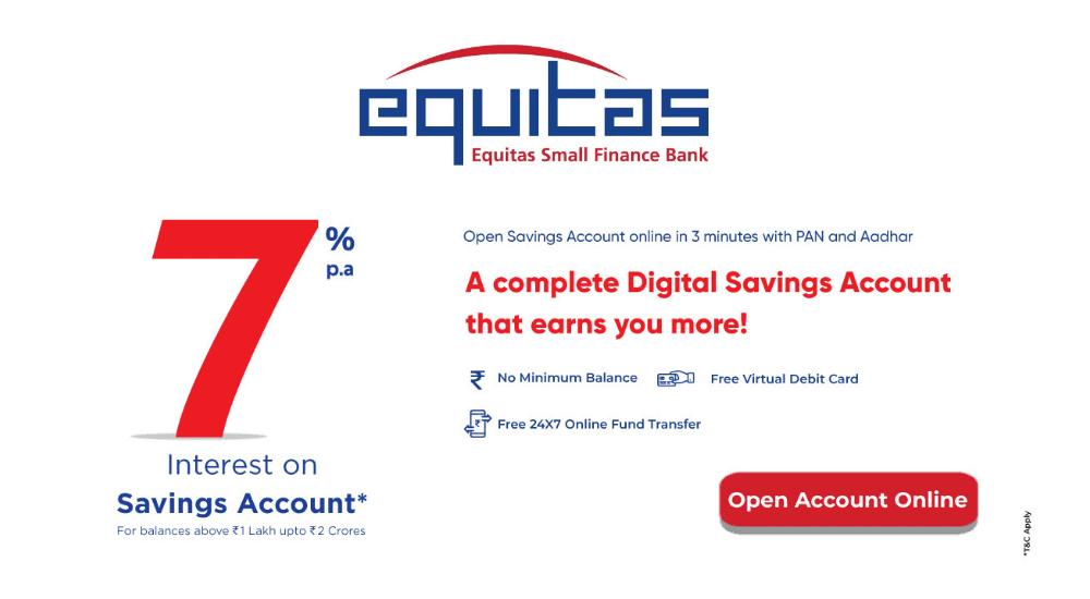 Equitas Small Finance Bank - Equitas Selfe Digital Account